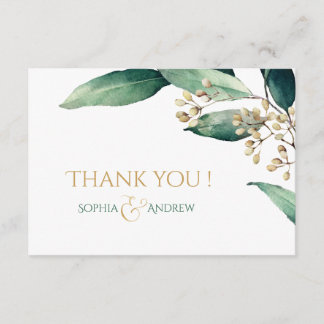 Modern painted botanical greenery rustic thank you note card