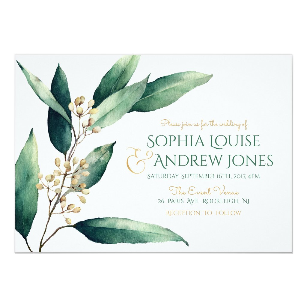 Modern Botanical Wedding Invitations