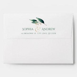 Modern painted botanical greenery rustic wedding envelope
