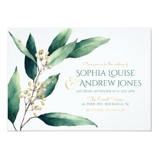 Modern painted botanical greenery rustic wedding invitation