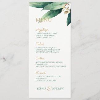 Modern painted botanical greenery rustic wedding menu