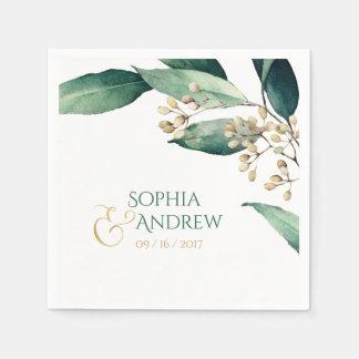 Modern painted botanical greenery rustic wedding napkin