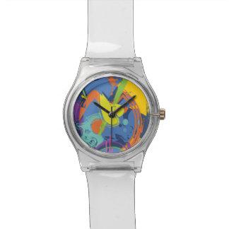 Modern painted broken heart abstract wristwatch
