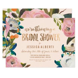 Modern Painted Floral Bridal Shower Invitation