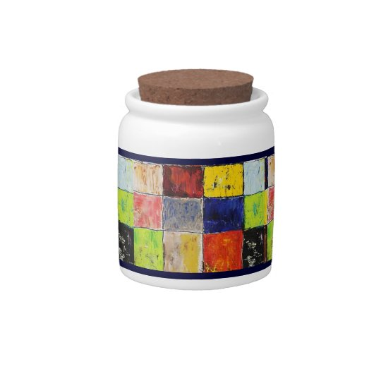 Modern Painted Patchwork Candy Jar