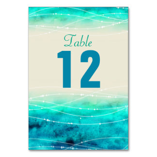 Modern painted sparkle sea Wedding table numbers Card