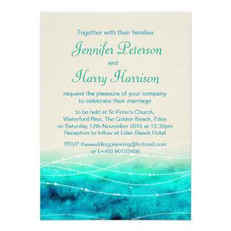 Modern painted sparkle seas wedding invite