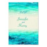 Modern painted sparkle seas wedding RSVP Card