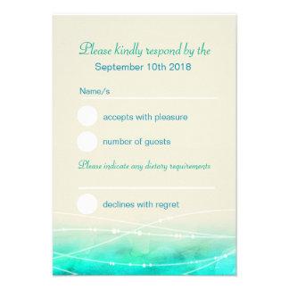 Modern painted sparkle seas wedding RSVP Custom Invite