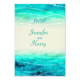 "Modern painted sparkle seas wedding RSVP 3.5"" X 5"" Invitation Card"
