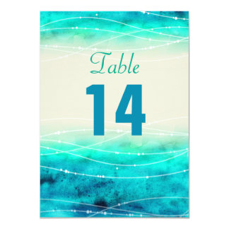 Modern painted sparkle seas wedding table numbers