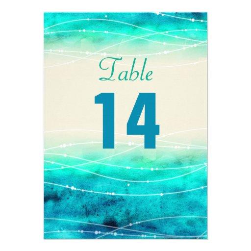 Modern painted sparkle seas wedding table numbers invite