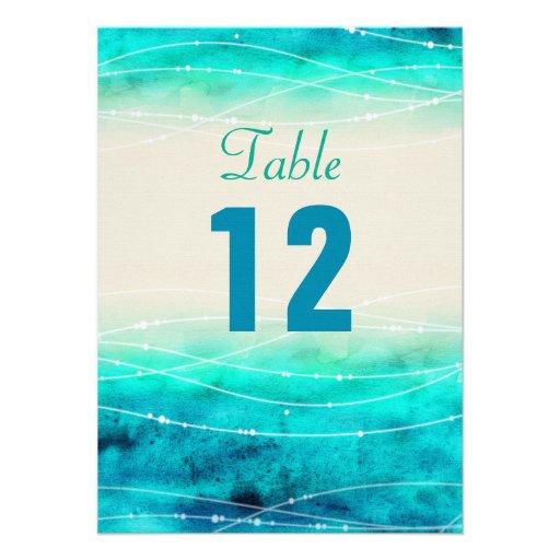 Modern painted sparkle seas wedding table numbers custom invites