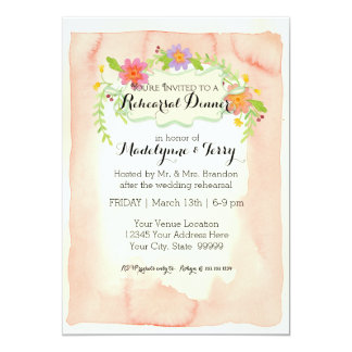 Modern Painterly Floral Rehearsal Dinner Party Card