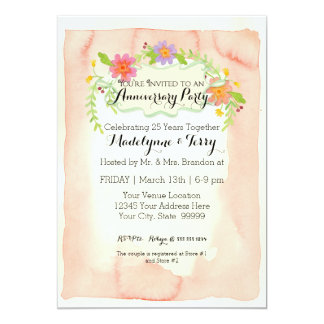 Modern Painterly Floral Wedding Anniversary Party Card