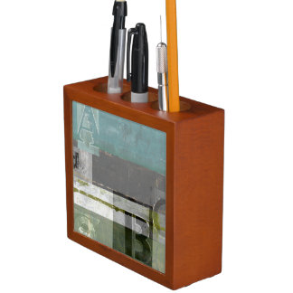 Modern Painting with Assorted Letters Pencil/Pen Holder