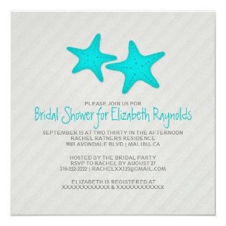 Modern Pair of Starfish Bridal Shower Invitations Personalized Invitation