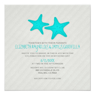 Modern Pair of Starfish Wedding Invitations Announcements