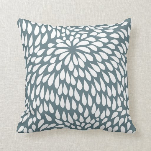 modern paisley flower in blue grey and white throw pillow zazzle. Black Bedroom Furniture Sets. Home Design Ideas