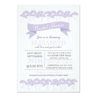 Modern Pale Purple Umbrella Bridal Shower Card