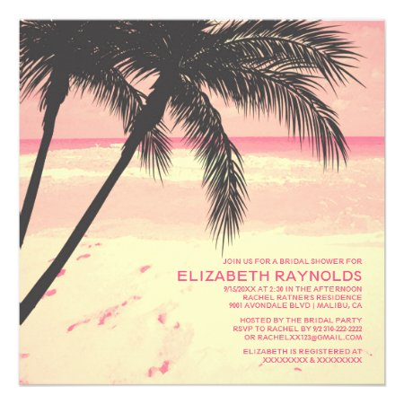 Modern Palm Tree Beach Bridal Shower Invitations Personalized Announcement