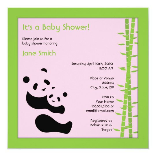 Modern Panda Square Baby Shower Invitation