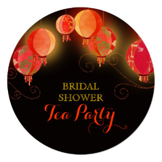 Modern Paper Lanterns Bridal Shower Tea Party Card