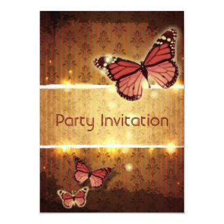 modern paris Damask glamorous Butterfly fashion Invitations