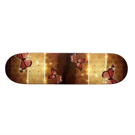 modern paris Damask glamorous Butterfly fashion Skateboard Deck