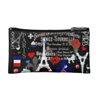 Modern Paris French black collage Cosmetic Bags