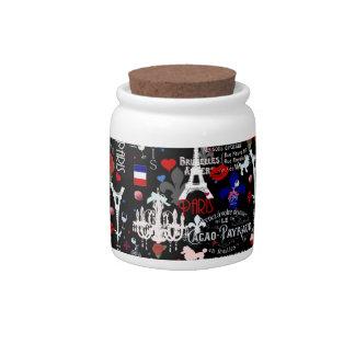 Modern Paris French black collage Candy Jars