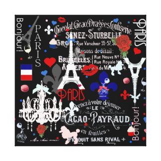 Modern Paris French black collage Canvas Print