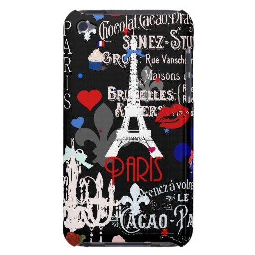 Modern Paris French black collage Barely There iPod Cases