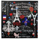Modern Paris French black collage Cloth Napkin