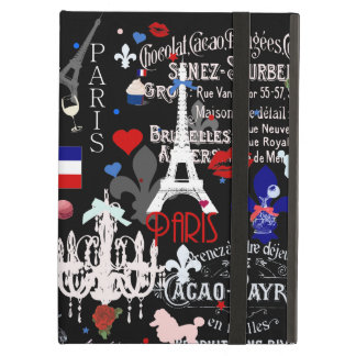 Modern Paris French black collage iPad Cover