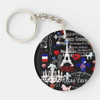 Modern Paris French black collage Double-Sided Round Acrylic Keychain