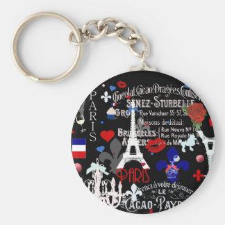 Modern Paris French black collage Key Chains