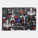 Modern Paris French black collage Kitchen Towel