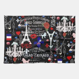 Modern Paris French black collage Kitchen Towels