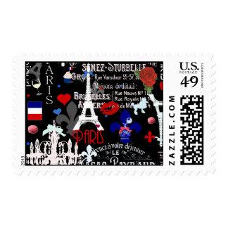 Modern Paris French black collage Stamp