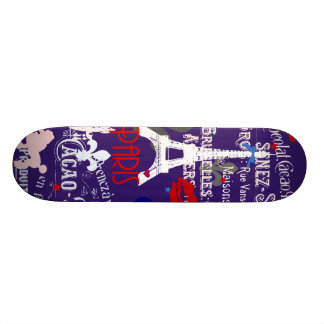 Modern Paris French black collage Skateboard Deck