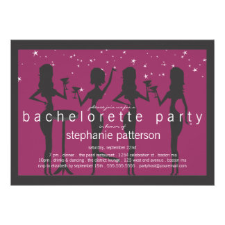 Modern Party Girls Cocktail Bachelorette Party Invitations