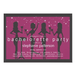 "Modern Party Girls Cocktail Bachelorette Party 5"" X 7"" Invitation Card"