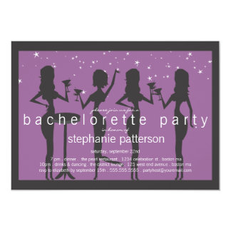 """Modern Party Girls Cocktail Bachelorette Party 5"""" X 7"""" Invitation Card"""
