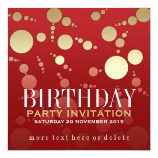 Modern Passion Red+Gold Birthday Invitations