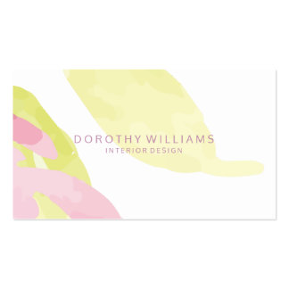 Modern Pastel Abstract Watercolors Interior Design Business Card