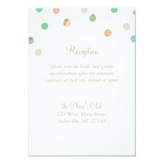 Modern Pastel and Copper Dots Wedding Reception Card