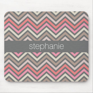 Modern Pastel Chevrons Pink Coral Gray Custom Name Mouse Pad