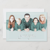 Modern Pastel Christmas Grateful Family Photo Holiday Card