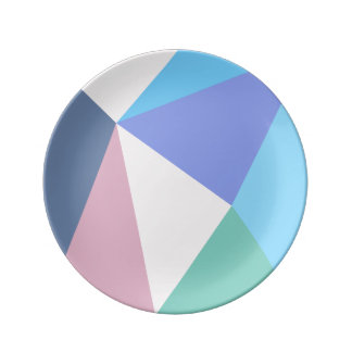 Modern pastel color triangle Porcelain Plate
